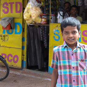 Pick Me by Edwin Montgomery - Babies & Children Child Portraits ( store, hyderabad, hyderabad india, india, boy, street photography )