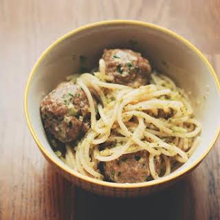 Roasted Broccoli Pesto Spaghetti with Veal-Ricotta Meatballs.