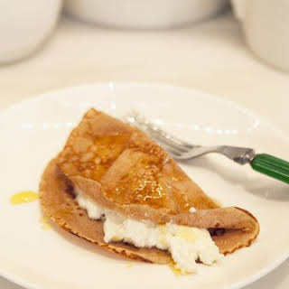 Chestnut Flour Crepes (Necci) with Ricotta and Honey.