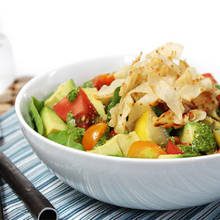 Heirloom Tomato And Avocado Salad With Crispy Wontons And Spicy Cilantro Vinaigrette
