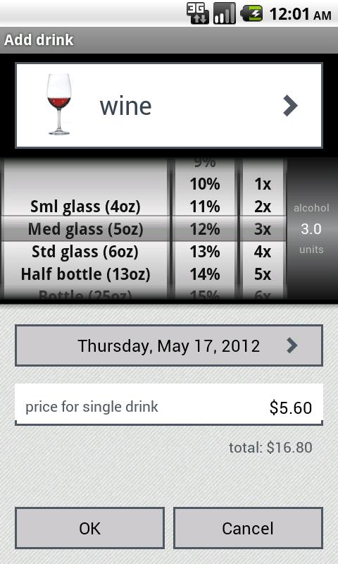 DrinkControl - alcohol tracker - screenshot