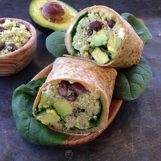 Quinoa Wrap With Black Beans, Feta And Avocado.