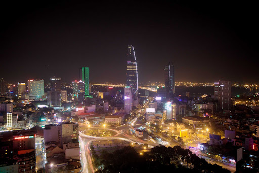 The skyline of Ho Chi Minh City, Vietnam, at night.