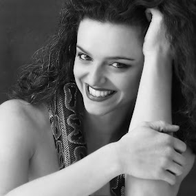 Happiness by Vikram Mehta - Black & White Portraits & People ( face, monochrome, girl, black and white, feeling, happy, joy, beautiful )