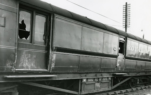 The Travelling Post Office carriage following the robbery