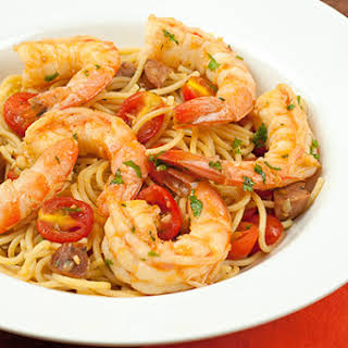 Spanish Spaghetti with Shrimp and Chorizo.