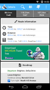 ViaMichelin Route planner,maps- screenshot thumbnail