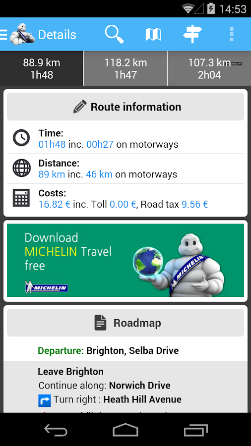 ViaMichelin Route planner,maps - screenshot