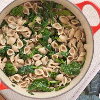 Orecchiette with Spinach and Gorgonzola Sauce.