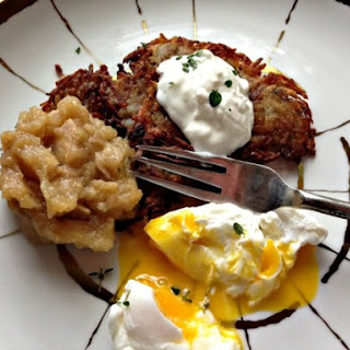 Potato Pancakes With Oven-Roasted Thyme Applesauce, Sour Cream, and Poached Eggs