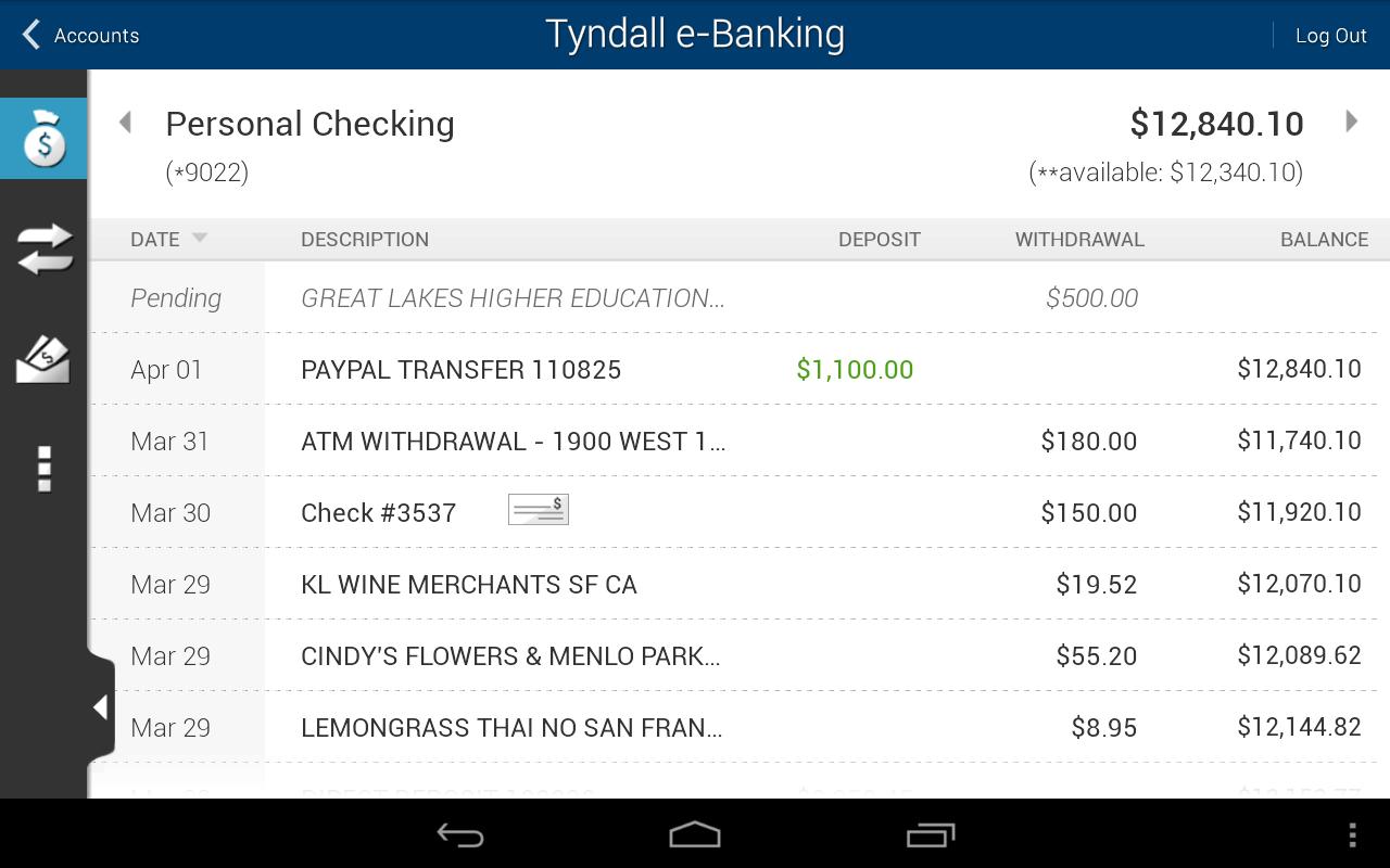Tyndall e-Banking - screenshot