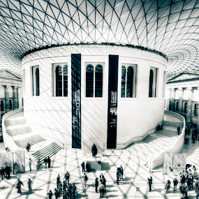 British Museum by Lee Davison - Buildings & Architecture Public & Historical ( london, hdr, black and white, shadow, british museum )