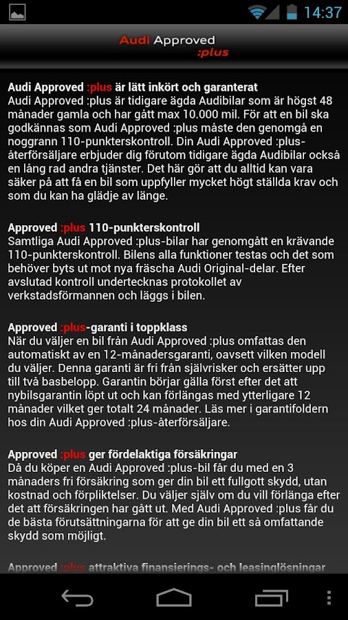 Audi Sverige- screenshot
