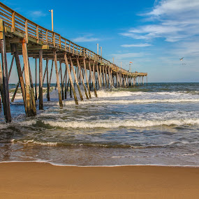 Pier at the Beach by Sharon Horn - Landscapes Waterscapes ( sand, outer banks, waves, pier, ocean, beach, , relax, tranquil, relaxing, tranquility )