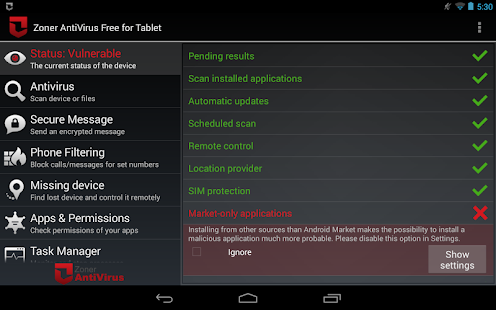 Zoner AntiVirus Free - Tablet - screenshot thumbnail