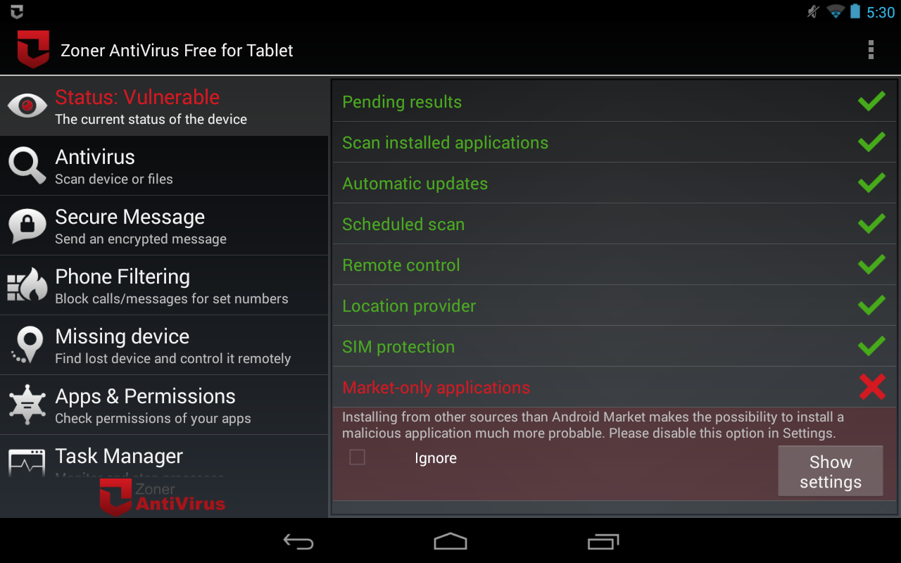 Zoner AntiVirus Free - Tablet - screenshot