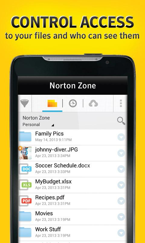 Norton Zone cloud sharing - screenshot