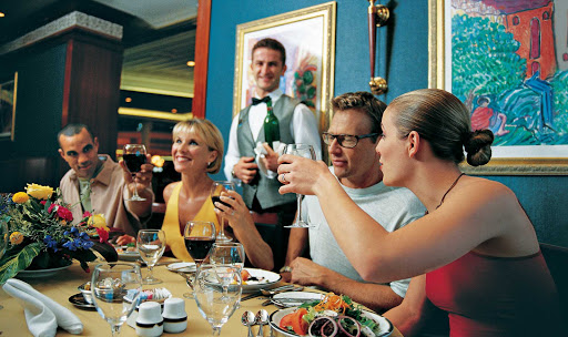 Voyager-of-the-Seas-couples-dine - You'll have a variety of dining options on Voyager of the Seas, whether you choose the ship's three-story opera-themed main dining room, the specialty restaurant Portofino (extra charge, reservations recommended) or a more informal cafe or grill.