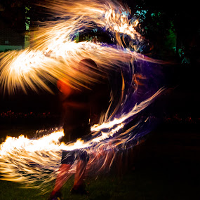 Fire dancer by Yu Tsumura - Abstract Fire & Fireworks ( indiana, light trail, silhouette, illusion, fire dancer, usa, fire, flame, fantasy, performance united states, west lafayette, juggling, performance, performing, hot, long exposure, night, blue fire, dancer )