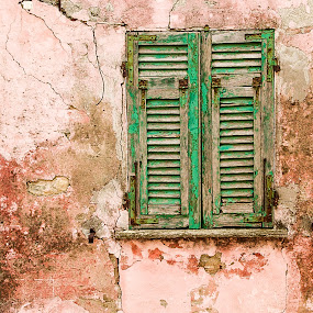 Ligurian window by Cesare Morganti - Buildings & Architecture Decaying & Abandoned ( window, pink, windows, wall, abandoned, , red, green )