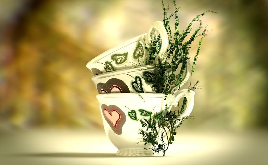 Teapots with tea leaves. by Istvan Fazakas - Artistic Objects Cups, Plates & Utensils ( isolated, graphic, heart, cups, symbol, afternoon, green, art, white, tea, party, leaves, emotion, love, red, wedding, generated, dark, celebration, decorated )