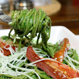 Pasta With Spinach Pesto And Roasted Tomatoes.