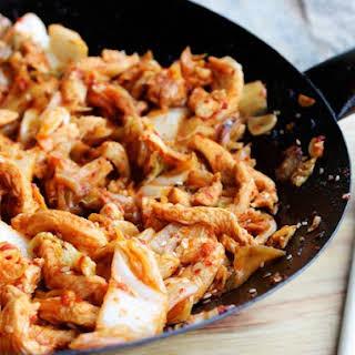 Kimchi Chicken and Cabbage Stir-Fry.