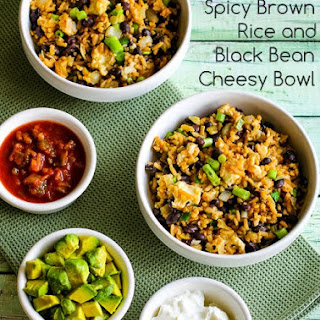 Slow Cooker Spicy Brown Rice and Black Bean Cheesy Bowl.