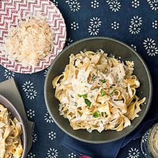 Fettuccine with Champagne Cream Sauce.