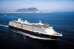 The Noordam passes the Rock of Gibraltar, the British overseas territory near the southern tip of Portugal.