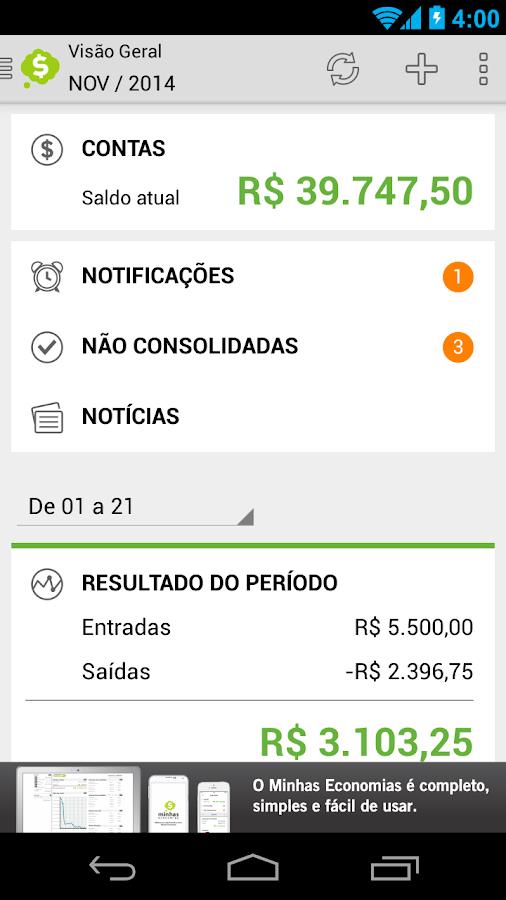 Minhas Economias- screenshot