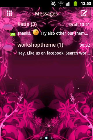 GO SMS Theme Pink Flower- screenshot