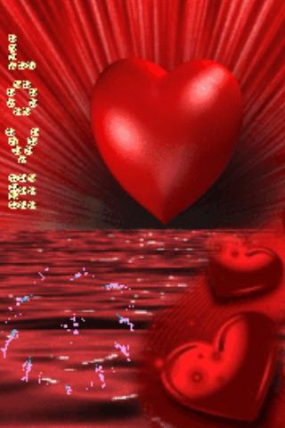 Red Heart On Red Sea Live Wall - screenshot