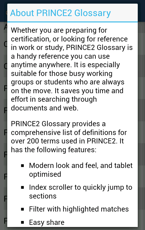 PRINCE2 Glossary - screenshot