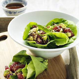 Tuna Poke In Lettuce Cups With Toasted Sesame Dressing.