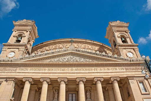 mosta-dome-mosta-malta - The Church of the Assumption of Our Lady, commonly known as the Rotunda of Mosta, in Mosta, Malta.