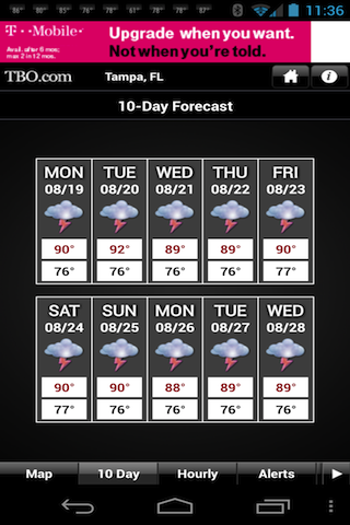 Tampa Bay weather from TBO- screenshot