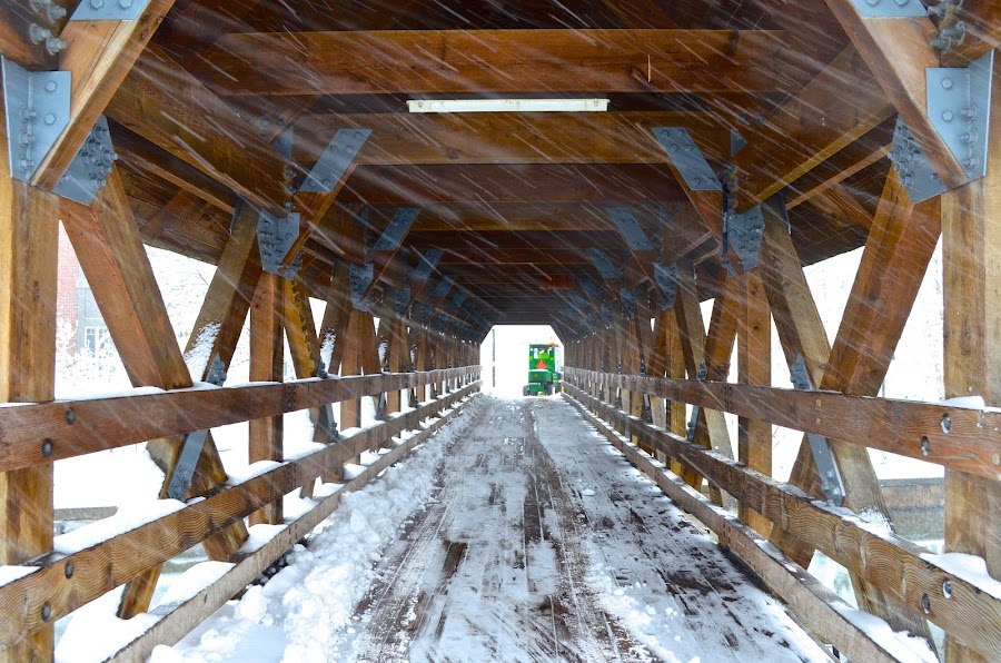 Snowy Covered Bridge by Lynn Kirchhoff - Buildings & Architecture Bridges & Suspended Structures ( covered bridge, snow, weather,  )