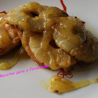 Chicken with Caramelized Pineapple and Honey and Mustard Sauce.