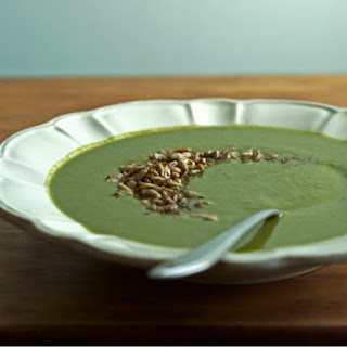 Green Monster Soup with Za'atar Toasted Sunflower Seeds