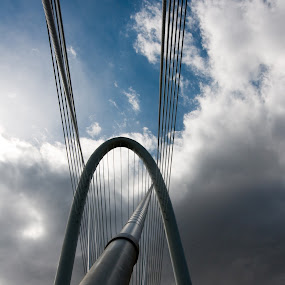 Margaret Hunt Hill Bridge by Michael McMurray - Buildings & Architecture Bridges & Suspended Structures ( clouds, structure, trinity river, dallas, cable, texas, suspension, architecture, architect, santiago calatrava, sky, margaret hunt hill, bridge, margaret hunt hill bridge,  )
