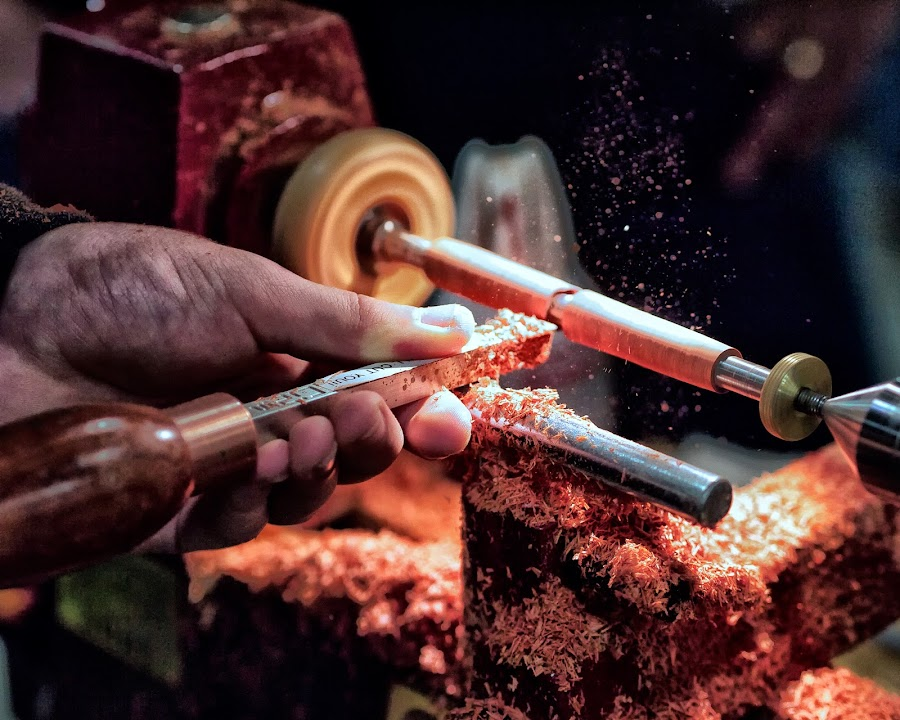 Turning a handmade pen.. by Alan Roseman - Artistic Objects Other Objects ( lathe, turner, craftsman, handwork, wood turner, woodwork, woodworker, turning,  )