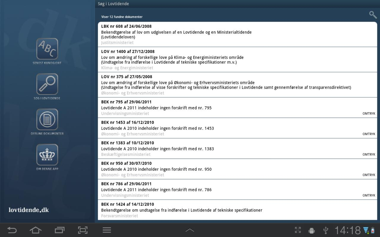 Lovtidende App- screenshot