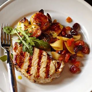 Quick-Brined Pork Chops with Fruit Compote and Smashed Potatoes