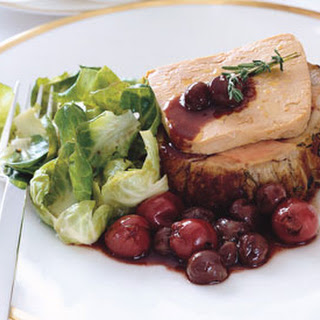 Roasted Loin of Veal with Foie Gras and Cherry-Red Grape Sauce