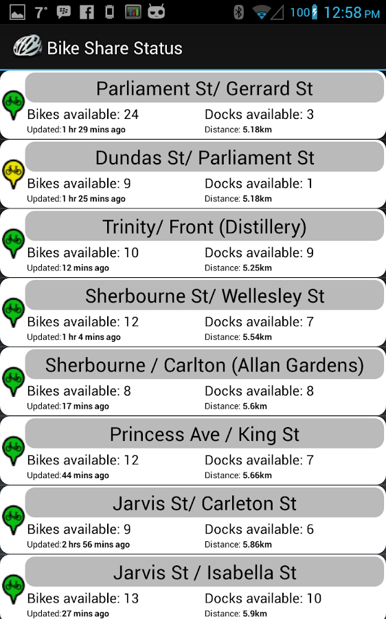 Bike Share Status- screenshot