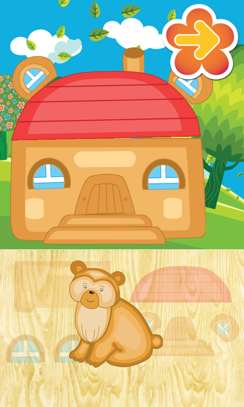 Animated puzzles house animals- screenshot