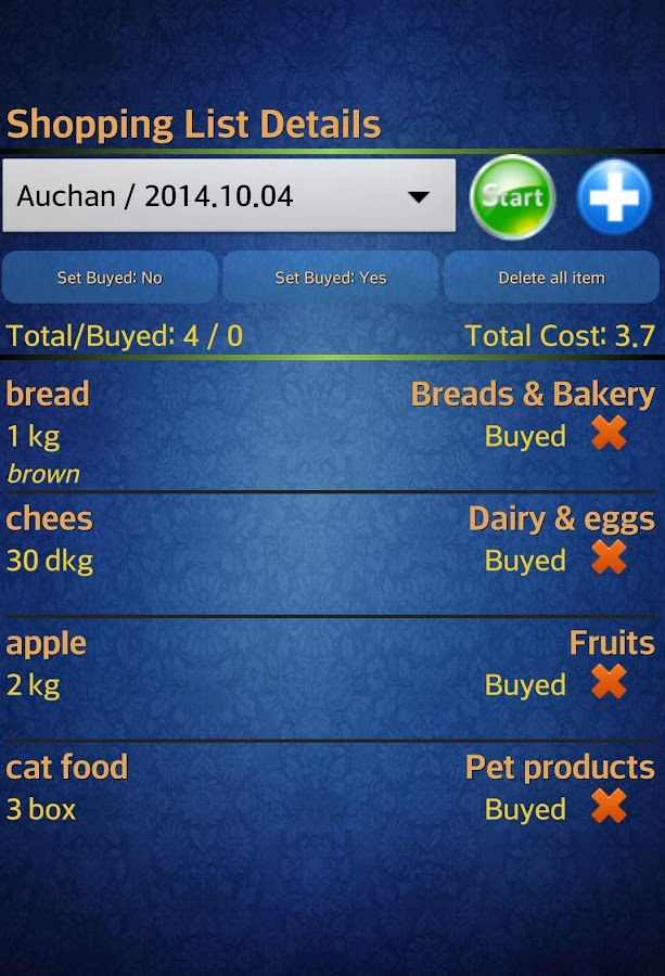 Easy Android Shopping List Pro- screenshot