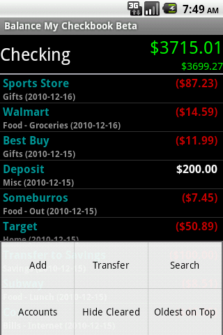 Balance My Checkbook Beta - screenshot