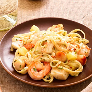 Sweet and Spicy Seafood Pasta.